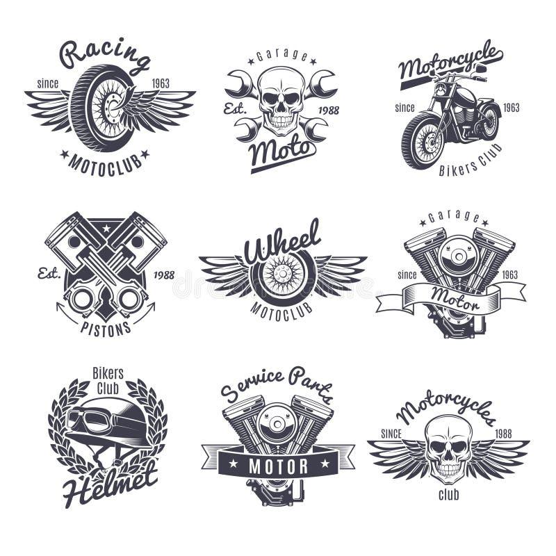 Ensemble de labels monochrome de moto de vintage illustration libre de droits