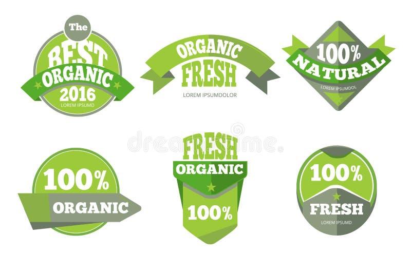 Ensemble de labels naturel organique vert illustration libre de droits