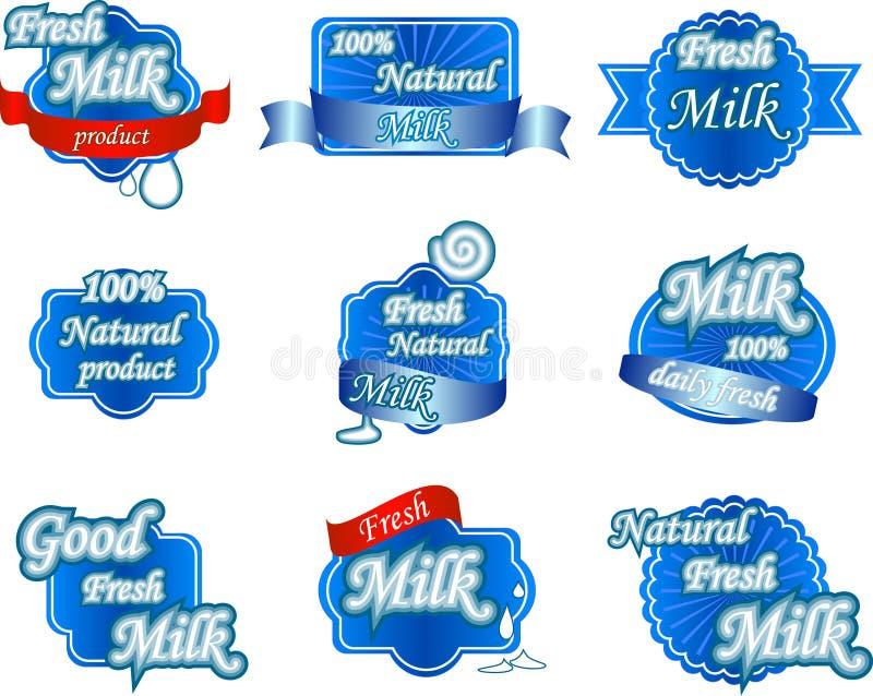 Ensemble de labels naturels frais de lait illustration de vecteur