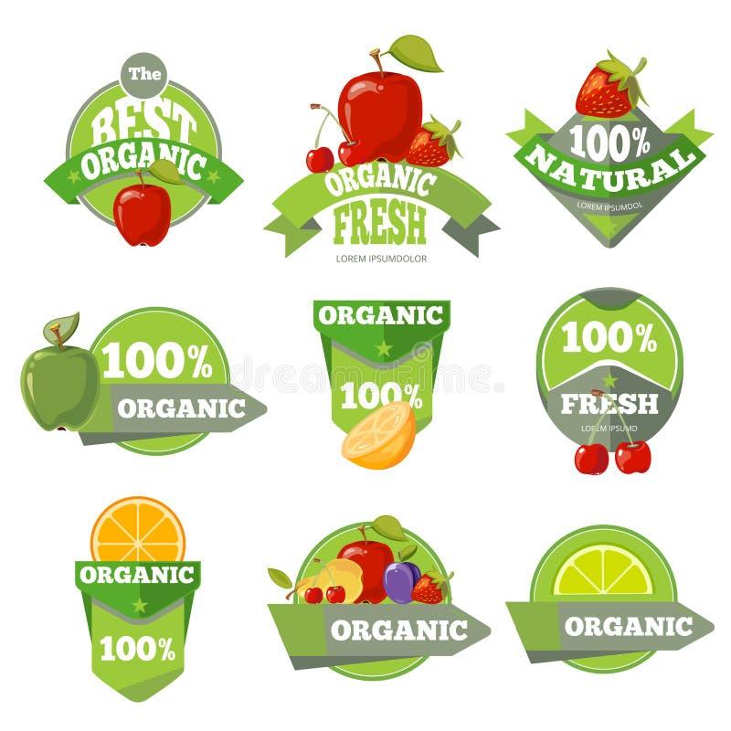 Ensemble de labels naturels organiques de fruits illustration stock