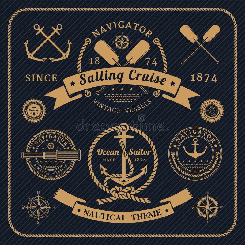 Ensemble de labels nautique de vintage sur le fond foncé illustration stock