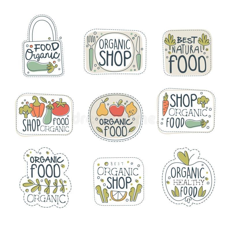 Ensemble de labels organique sain frais de logo de nourriture de vegan Insignes avec les produits naturels Schéma avec les légume illustration stock
