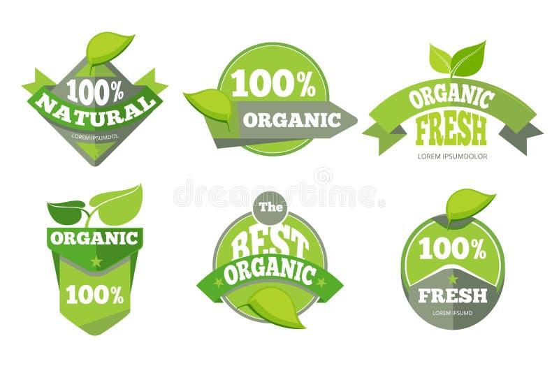 Ensemble de labels organique vert naturel d'eco illustration libre de droits