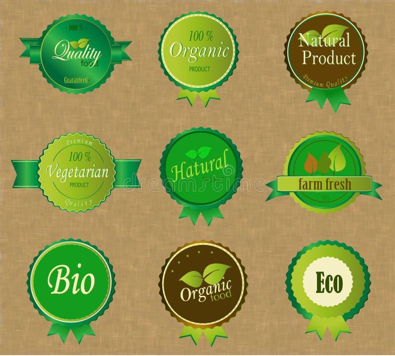 Ensemble de labels organiques frais illustration libre de droits