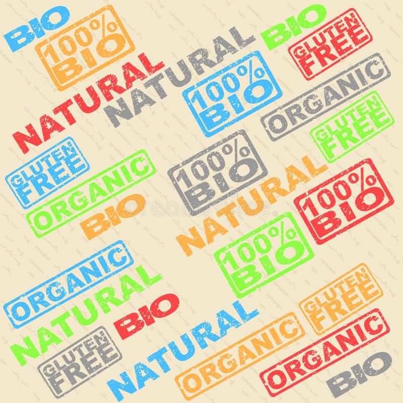 Ensemble de labels - organiques, naturel, gluten, bio illustration libre de droits