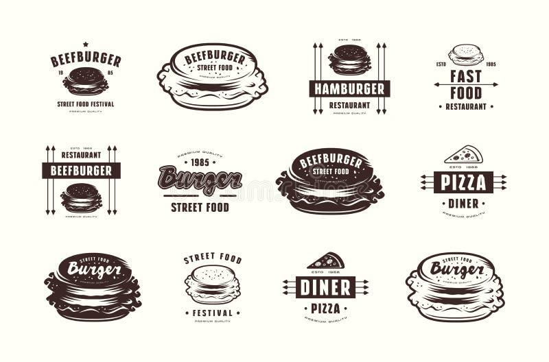 Ensemble de labels de pizza et d'hamburger, d'emblèmes et de logos illustration de vecteur