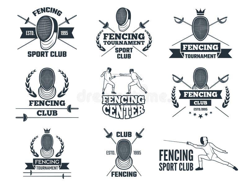 Ensemble de labels pour clôturer le sport Photos monochromes des rapières, du masque d'épée et de tout autre équipement illustration de vecteur