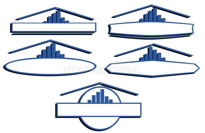 Ensemble de labels pour des architectes ou de vrais agents immobiliers illustration de vecteur