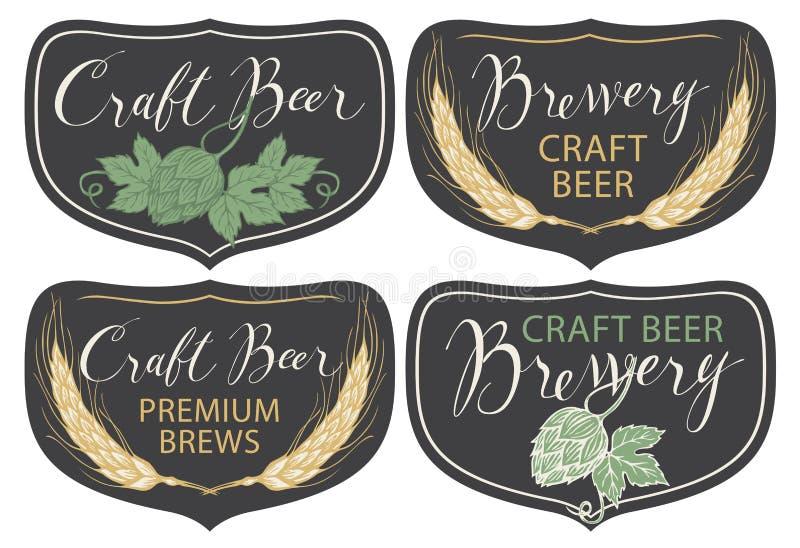Ensemble de labels pour la bière et la brasserie dans le rétro style illustration stock