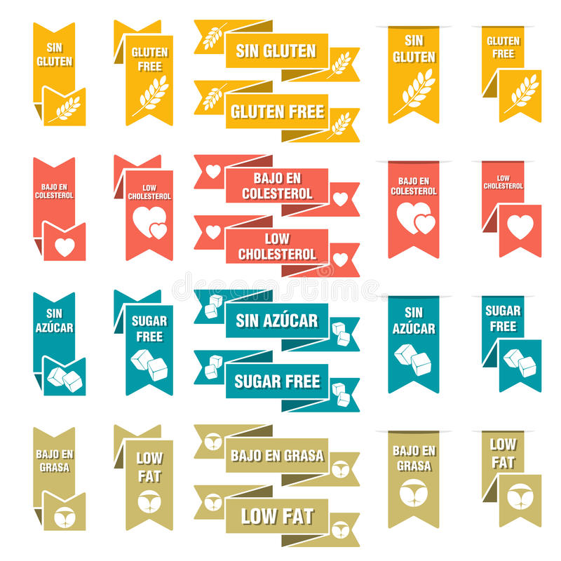 Ensemble de labels pour la nourriture photos libres de droits