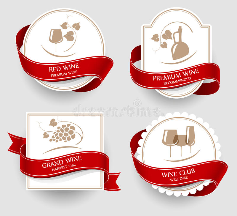Ensemble de labels pour le vin illustration libre de droits