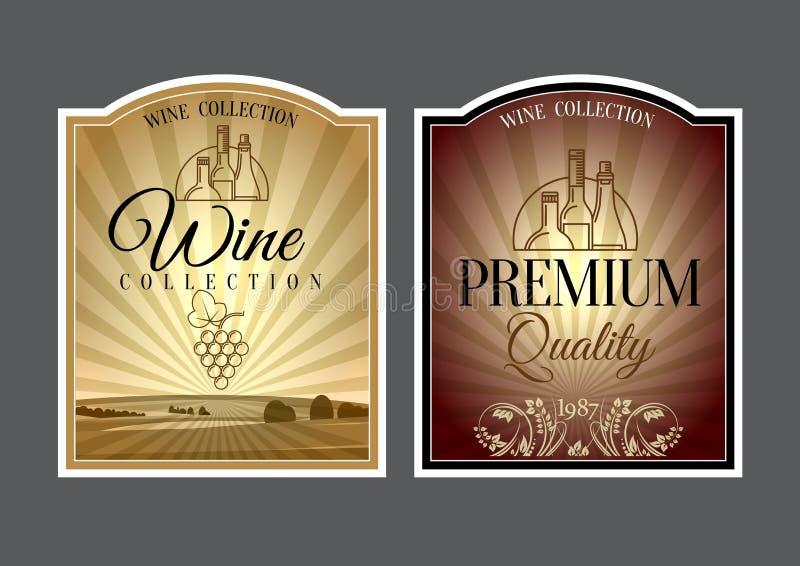 Ensemble de labels pour le vin illustration de vecteur