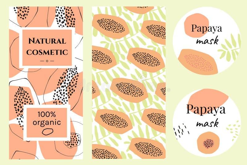 Ensemble de labels pour les cosmétiques organiques de papaye illustration libre de droits