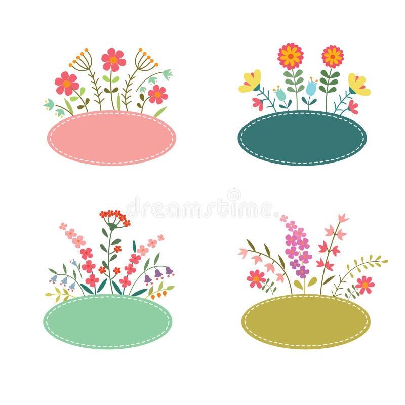 Ensemble de labels romantiques de fleur illustration libre de droits
