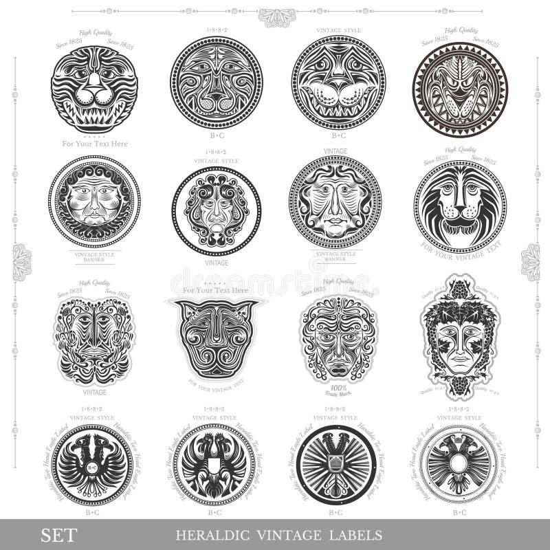 Ensemble de labels royaux de vintage de couleur avec le visage d'aigle et d'homme de lion illustration de vecteur