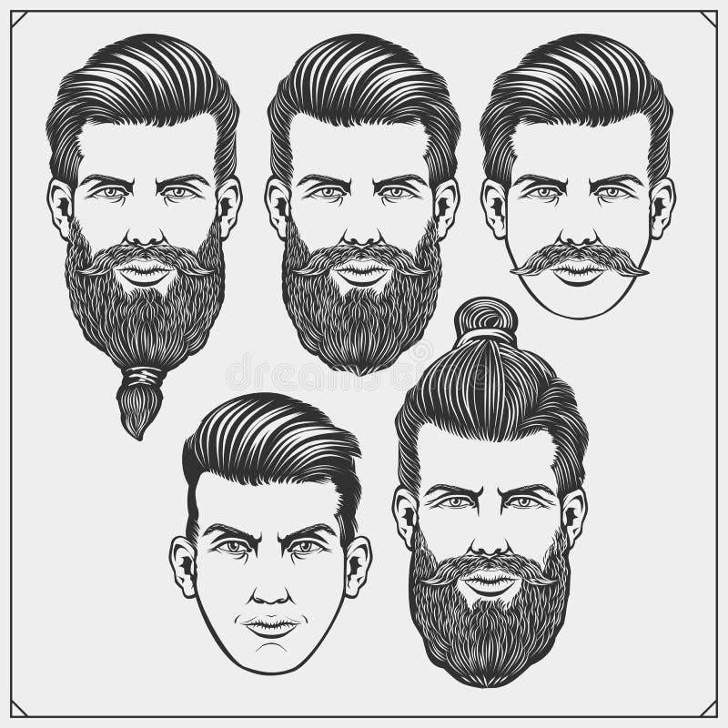 Ensemble de labels de salon de coiffure de vintage, d'insignes, d'embl?mes et d'?l?ments de conception Illustration noire et blan illustration de vecteur