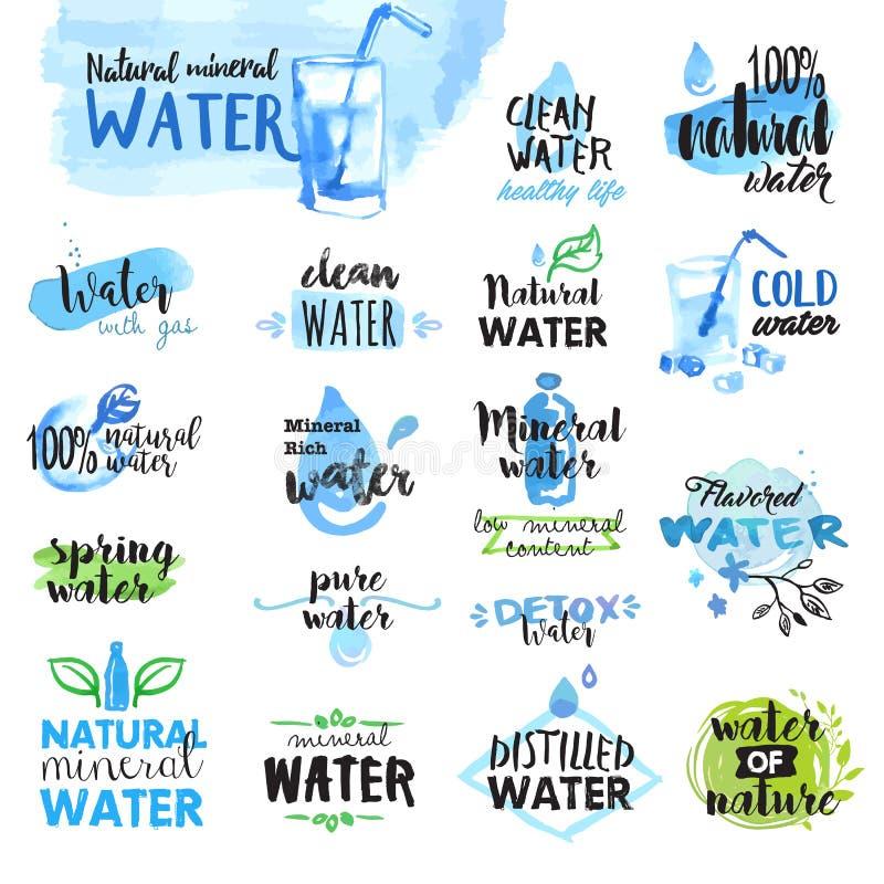 Ensemble de labels tirés par la main d'aquarelle et insignes de l'eau illustration de vecteur