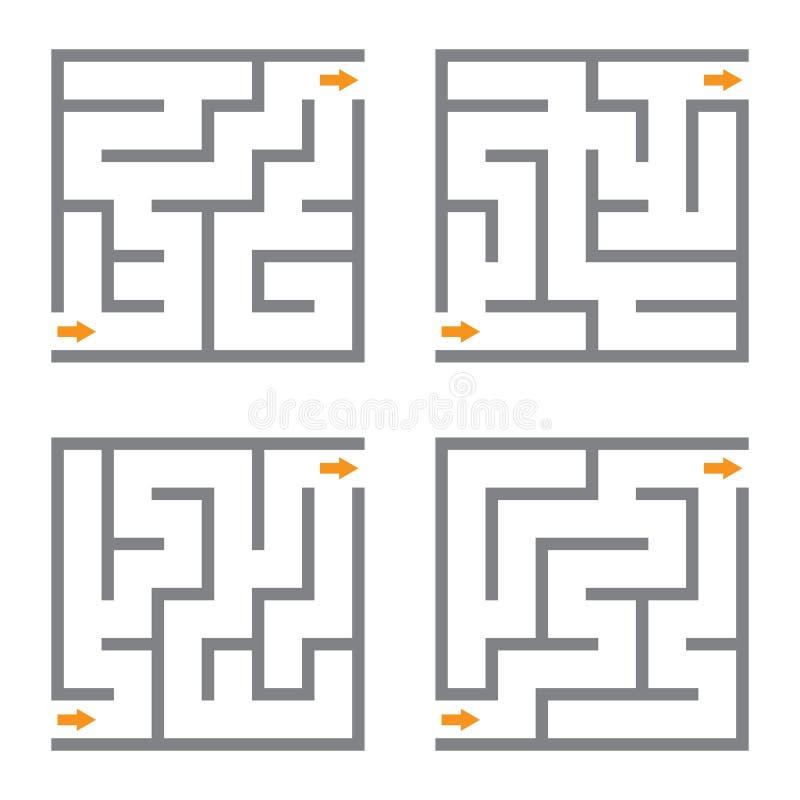 Ensemble de labyrinthe de quatre vecteurs illustration libre de droits