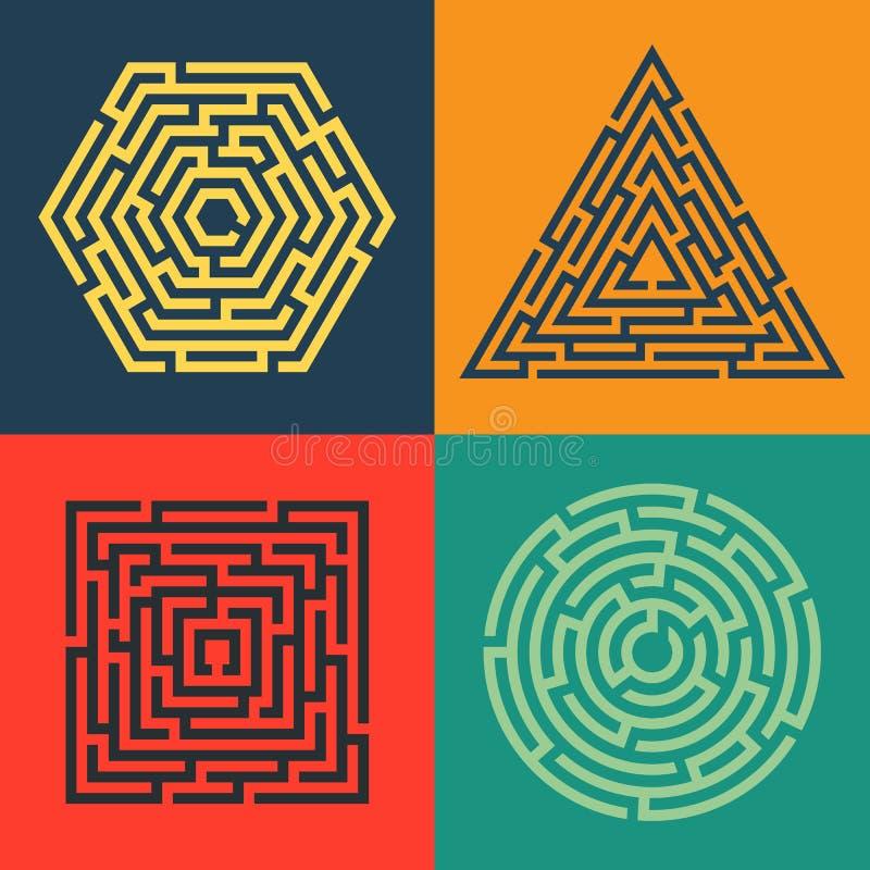 Ensemble 4 de labyrinthe - place, cercle, triangle, icône d'hexagone illustration de vecteur