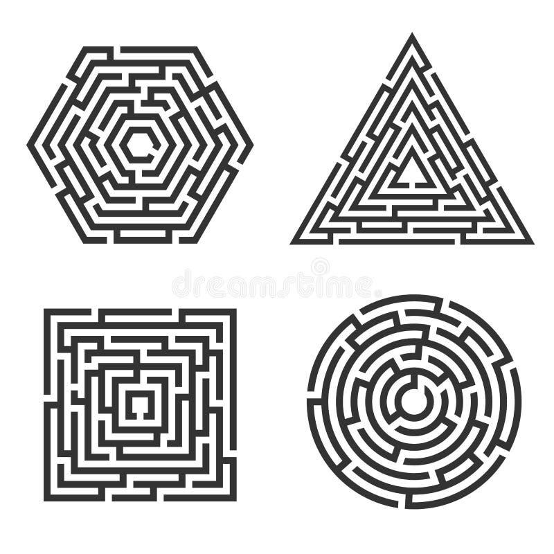 Ensemble 4 de labyrinthe - place, cercle, triangle, icône d'hexagone Concept d'affaires illustration stock