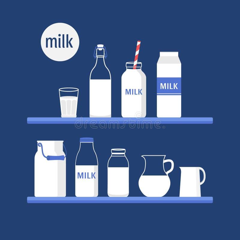 Ensemble de lait illustration libre de droits