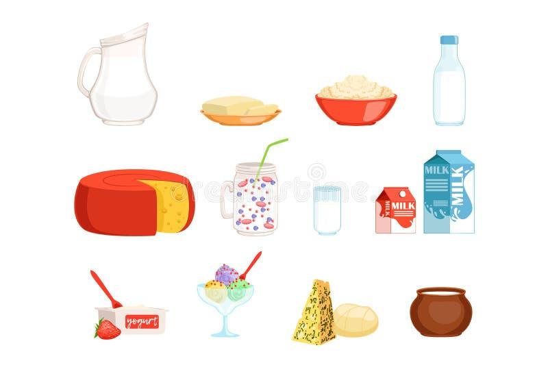 Ensemble de laitages, lait, beurre, fromage, yaourt, crème sure, illustrations de vecteur de crème glacée  illustration de vecteur