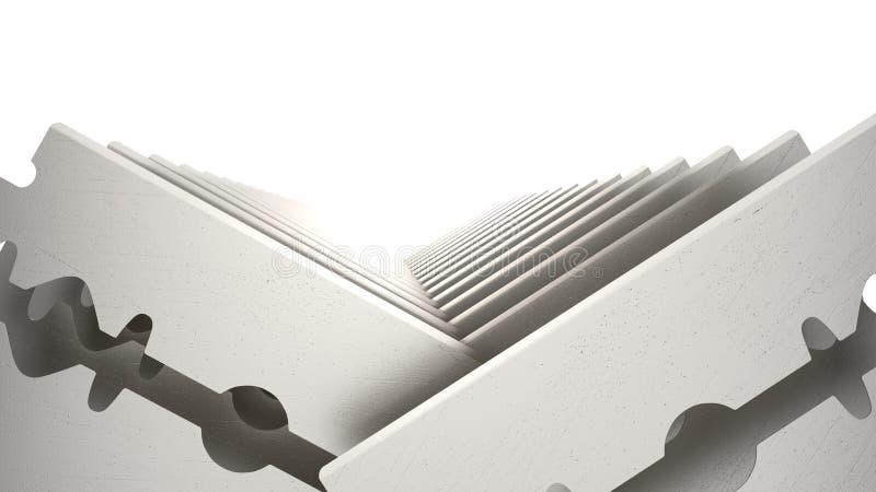 Ensemble de lame de rasoir en métal d'isolement sur le fond blanc illustration 3D illustration stock
