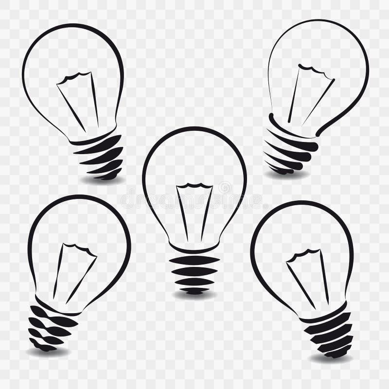 Ensemble de lampes sur le fond blanc illustration de vecteur