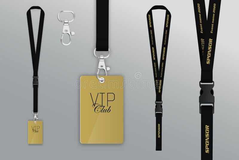 Ensemble de lanière et d'insigne Passage de l'exemple VIP de conception Crédit d'insigne illustration libre de droits
