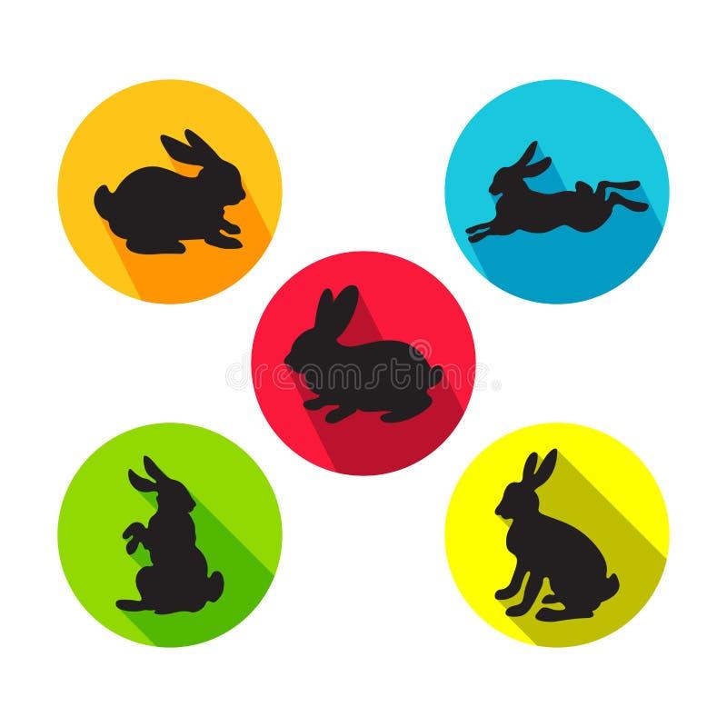 Ensemble de lapins dans différentes positions Vecteur photo stock