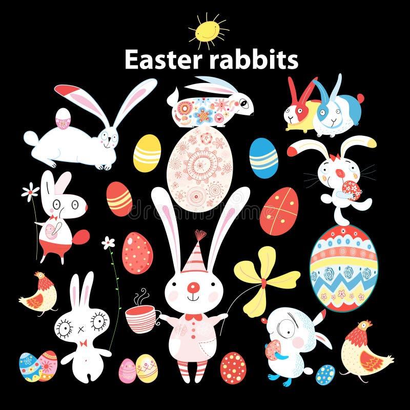 Ensemble de lapins de Pâques et d'oeufs o illustration libre de droits