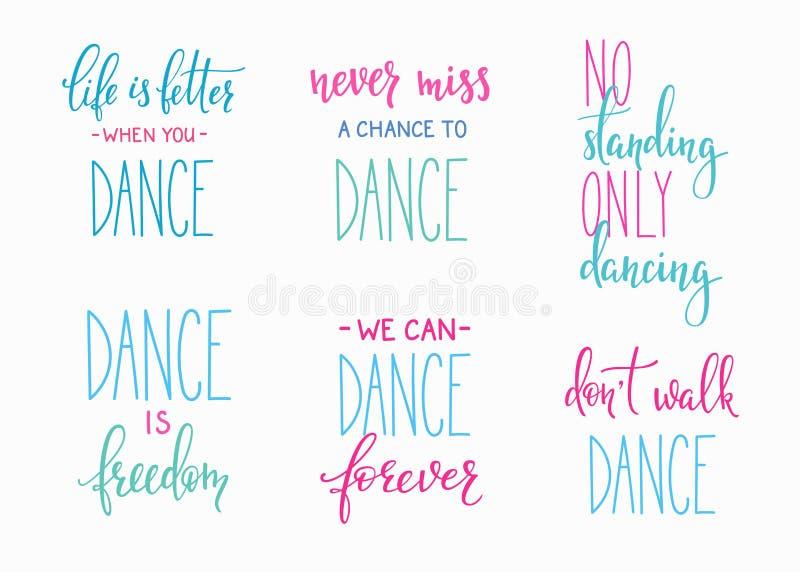 Ensemble de lettrage de citation de studio de danse illustration de vecteur