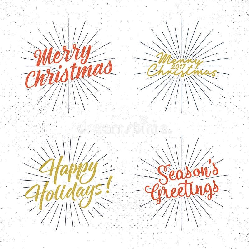 Ensemble de lettrage de Noël, de souhaits et de labels de vintage Calligraphie de salutations du ` s de saison Conception de typo illustration de vecteur