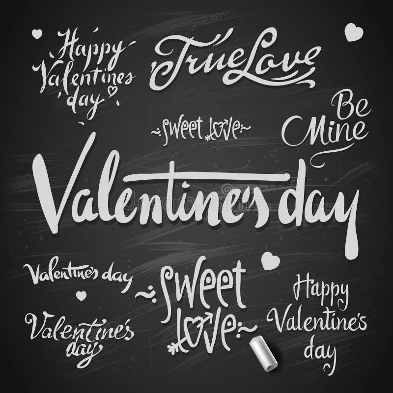 Ensemble de lettrage heureux de main de Saint-Valentin illustration de vecteur