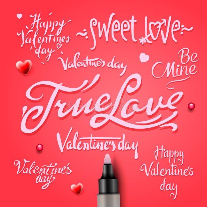 Ensemble de lettrage heureux de main de Saint-Valentin illustration stock