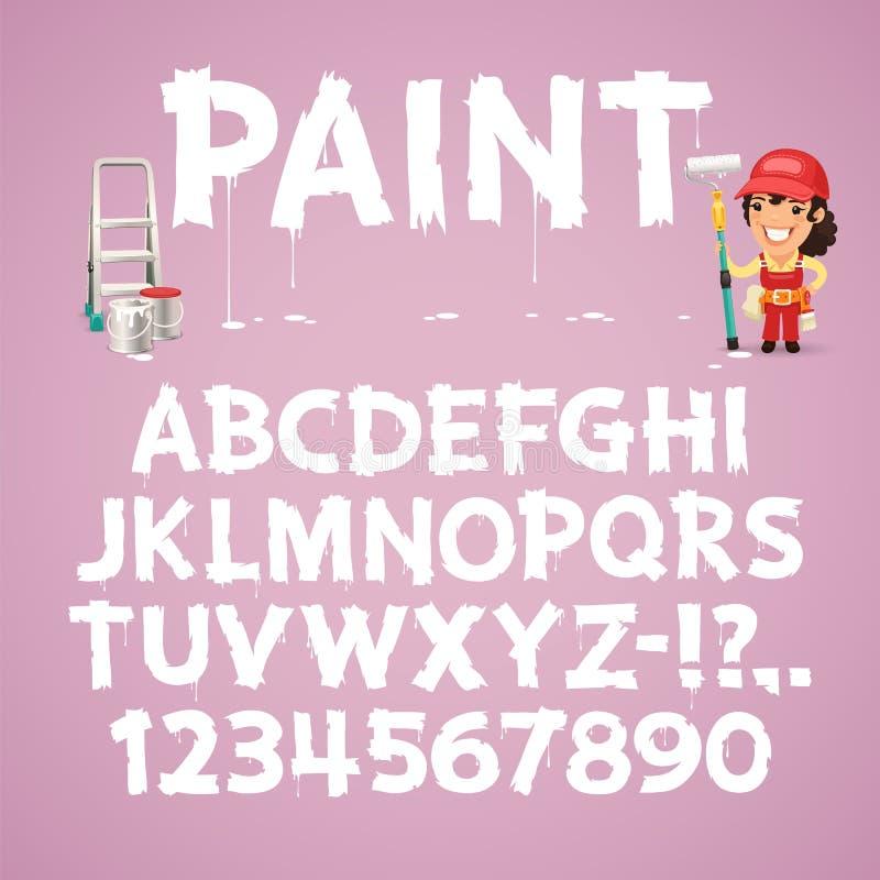 Ensemble de lettres et de nombres peints sur un mur illustration libre de droits