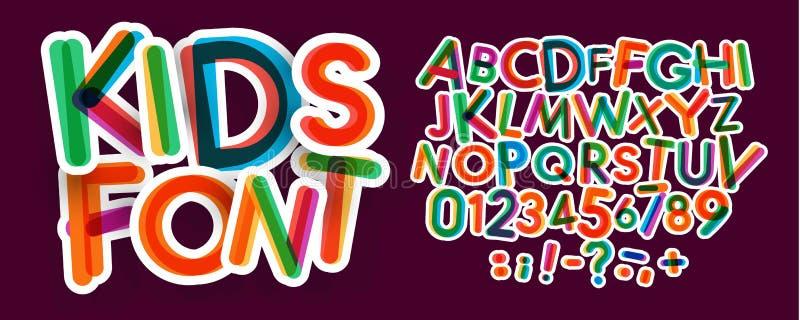 Ensemble de lettres et de nombres d'enfants Alphabet de latin audacieux et coloré de vecteur Polices pour la zone d'enfants, prom illustration stock