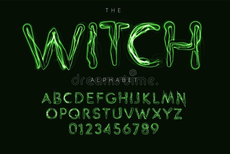 Ensemble de lettres et de nombres de Halloween Alphabet latin de vecteur magique de style de sorcière Police de Ghostbusters pour illustration libre de droits