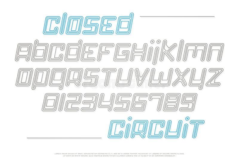 Ensemble de lettres et de nombres italiques d'alphabet de style illustration libre de droits