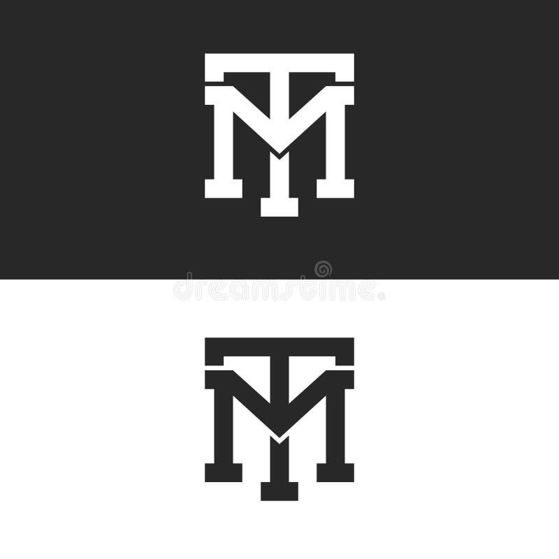 Ensemble de lettres de logo du TM d'initiales de hippie de monogramme, alliance audacieuse de recouvrement de deux lettres T M, l illustration libre de droits