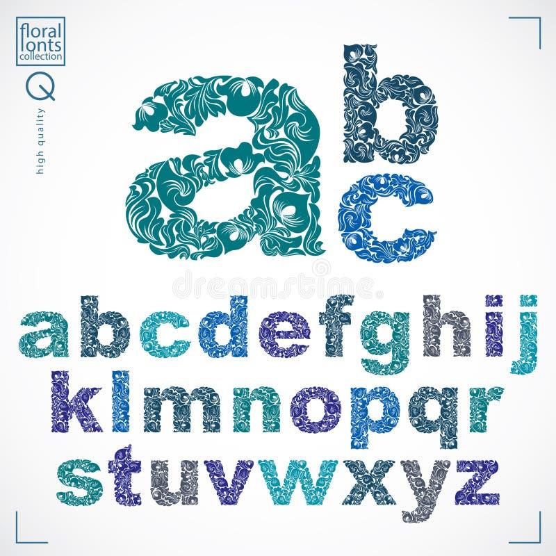 Ensemble de lettres minuscules fleuries de vecteur, typescr fleur-modelé illustration libre de droits