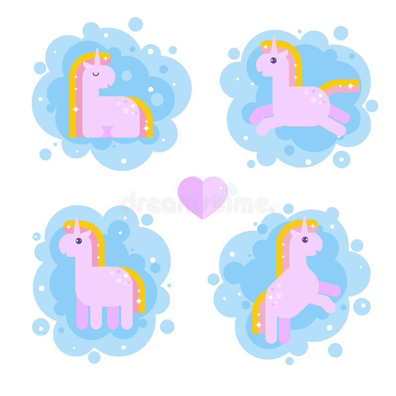 Ensemble de licornes magiques pour des enfants illustration stock