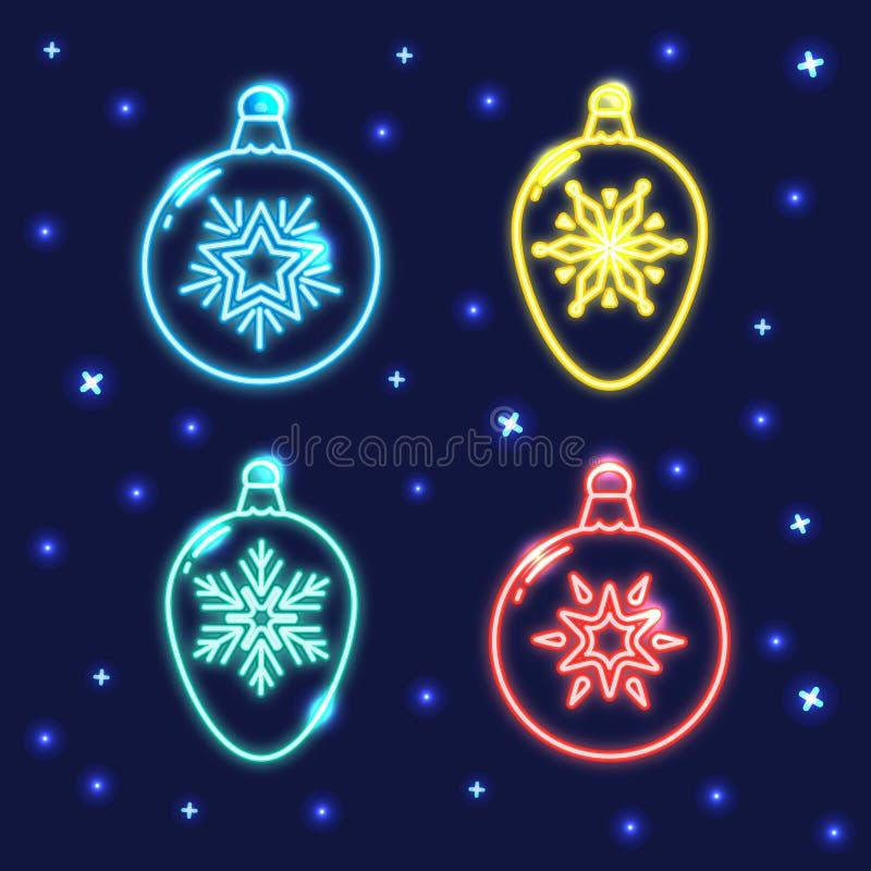 Ensemble de ligne au néon icônes de babiole de Noël illustration de vecteur