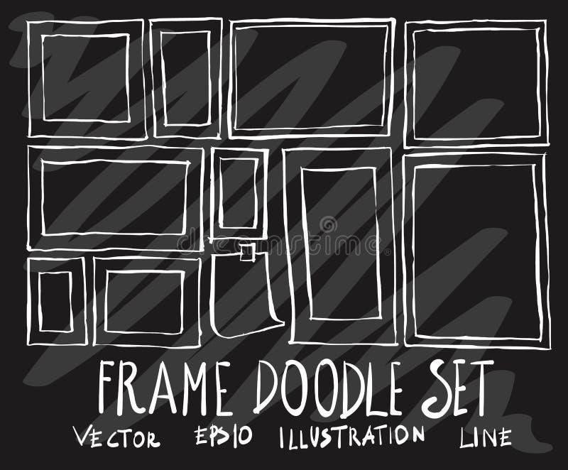 Ensemble de ligne blanche de vue de collection de dessin de griffonnage de vecteur sur le blac illustration stock