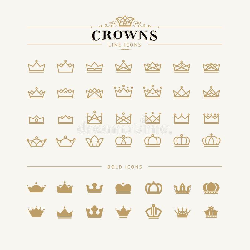 Ensemble de ligne de couronne et d'icônes audacieuses