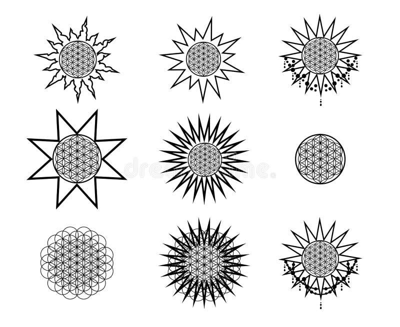 Ensemble de ligne emblèmes ronds de hippie Illustration de vecteur illustration de vecteur
