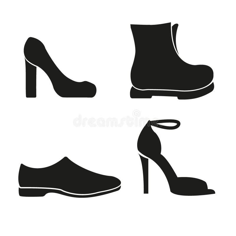 Ensemble de ligne icônes de chaussures Chaussures d'hommes et chaussures de femmes, icônes linéaires de chaussures Illustration illustration libre de droits