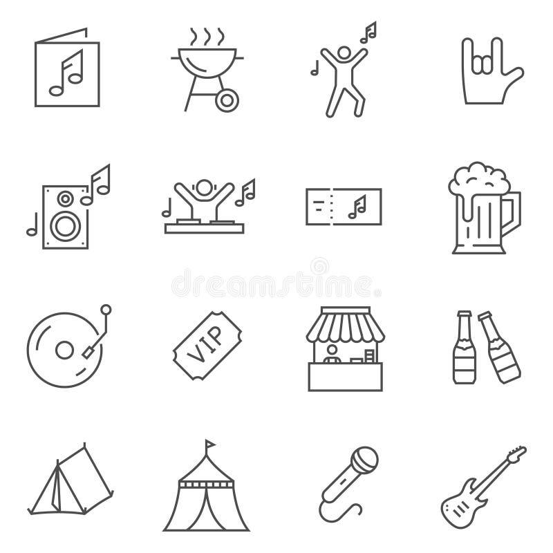 Ensemble de ligne icônes de festival de musique de vecteur illustration libre de droits