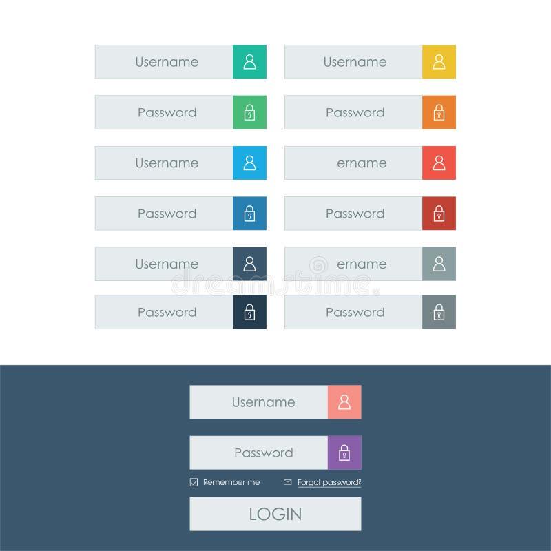 Ensemble de ligne icônes de forme de login dans la conception plate moderne illustration de vecteur