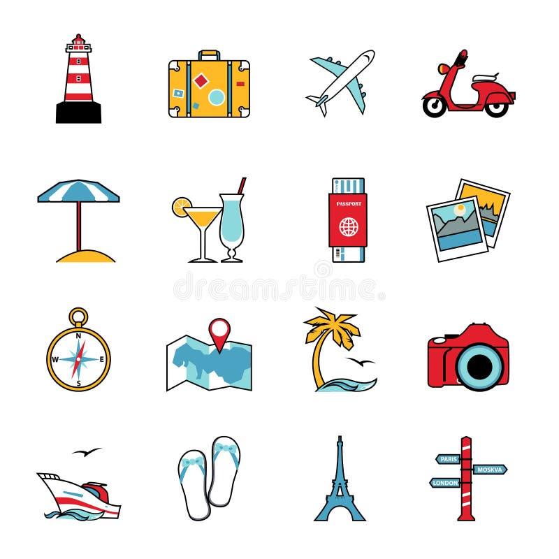 Ensemble de ligne icônes de voyage et de tourisme Style plat illustration libre de droits